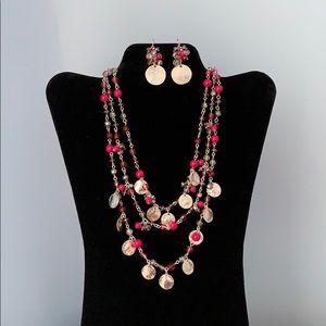 WHBM beaded necklace and earring set